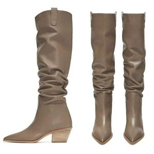 ZARA FLAT LEATHER TAUPE BROWN COWBOY BOOT